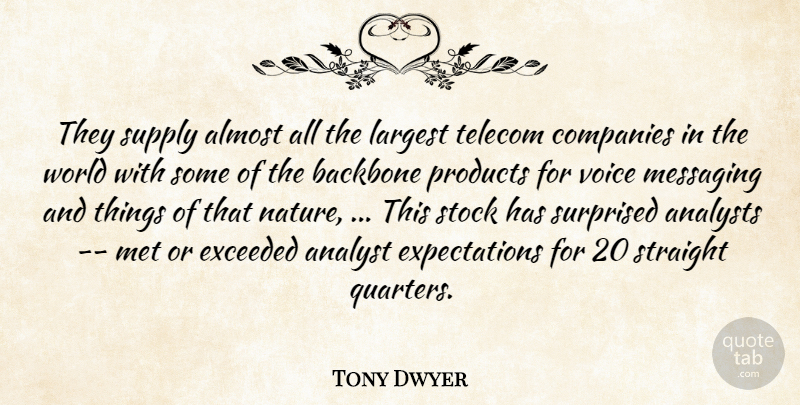 Tony Dwyer Quote About Almost, Analyst, Backbone, Companies, Exceeded: They Supply Almost All The...