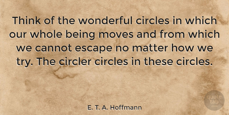 E. T. A. Hoffmann Quote About Moving, Thinking, Circles: Think Of The Wonderful Circles...