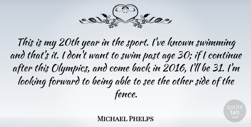 Michael Phelps Quote About Birthday, Sports, Swimming: This Is My 20th Year...