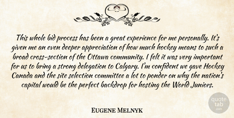 Eugene Melnyk Quote About Appreciation, Backdrop, Bid, Bring, Broad: This Whole Bid Process Has...