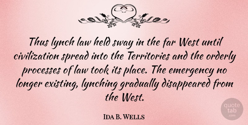 Ida B. Wells Quote About Law, Civilization, Lynching: Thus Lynch Law Held Sway...