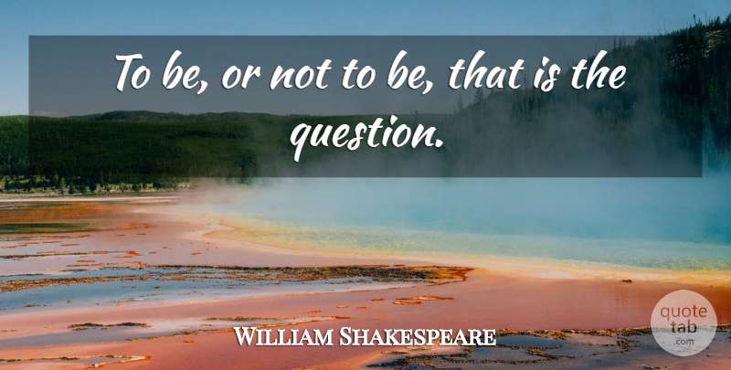 William Shakespeare Quote About Love, Suicide, Creativity: To Be Or Not To...