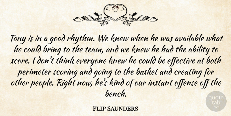 Flip Saunders Quote About Ability, Available, Basket, Both, Bring: Tony Is In A Good...