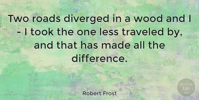 Robert Frost Quote About Inspirational, Motivational, Happiness: Two Roads Diverged In A...
