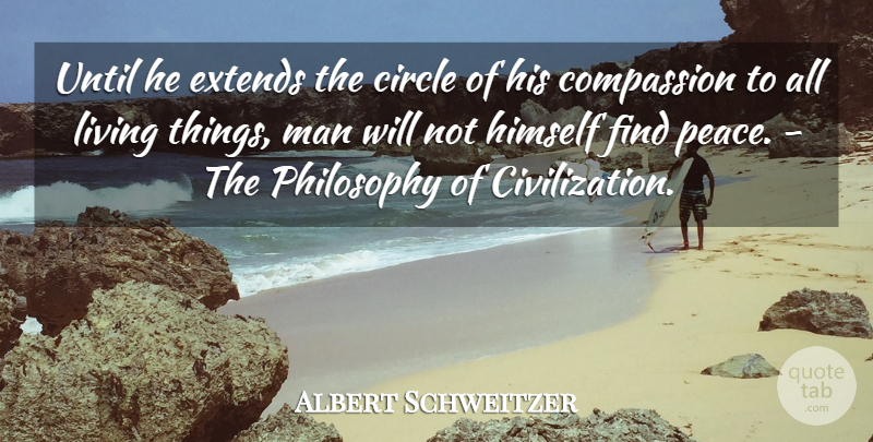 Albert Schweitzer Quote About Circle, Civilization, Compassion, Himself, Living: Until He Extends The Circle...