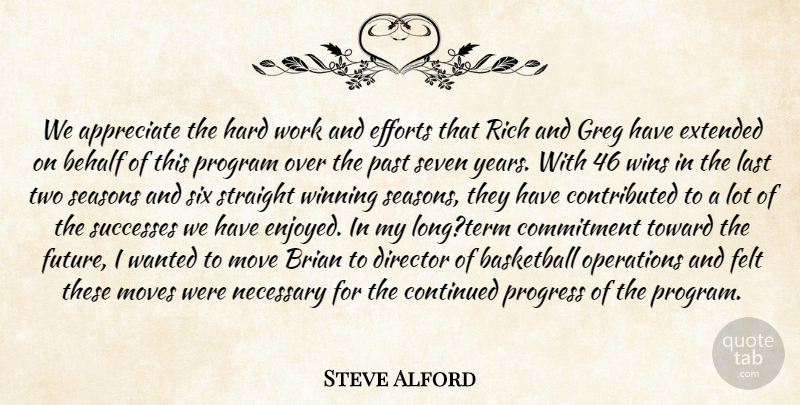 Steve Alford Quote About Appreciate, Basketball, Behalf, Brian, Commitment: We Appreciate The Hard Work...