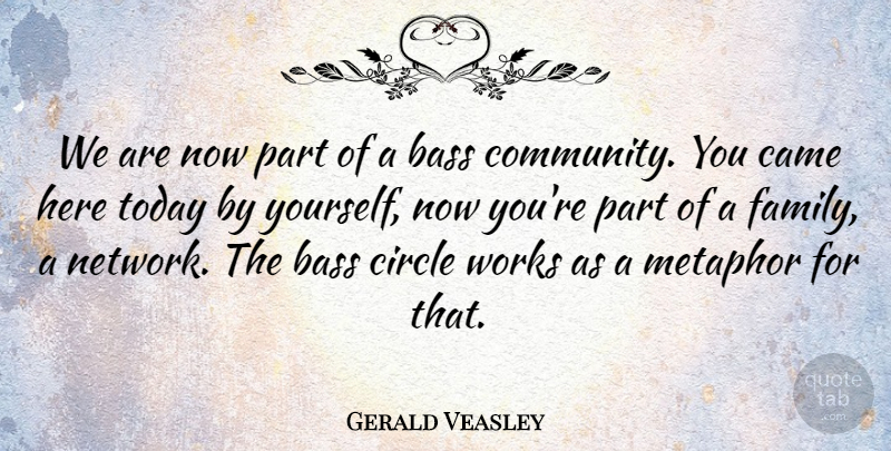 Gerald Veasley Quote About Bass, Came, Circle, Metaphor, Today: We Are Now Part Of...