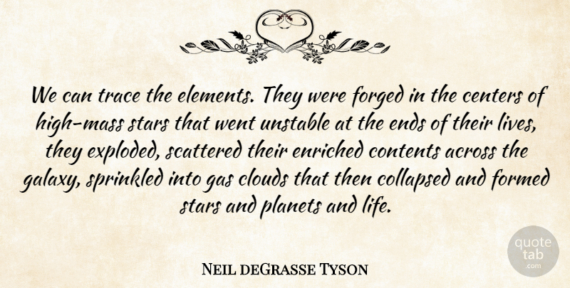 Neil deGrasse Tyson Quote About Stars, Science, Clouds: We Can Trace The Elements...