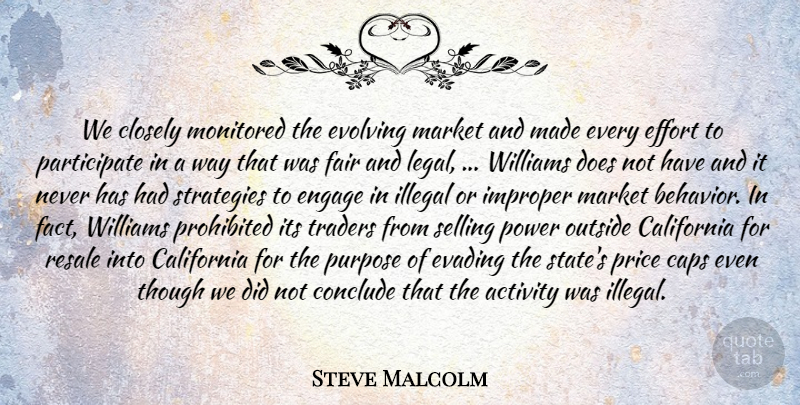 Steve Malcolm Quote About Activity, California, Caps, Closely, Conclude: We Closely Monitored The Evolving...