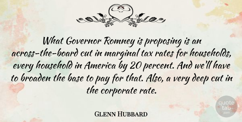 Glenn Hubbard Quote About America, Base, Broaden, Corporate, Cut: What Governor Romney Is Proposing...