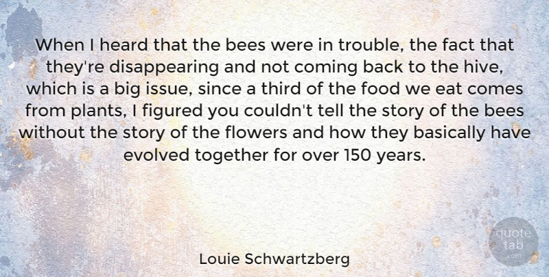 Louie Schwartzberg Quote About Basically, Bees, Coming, Eat, Evolved: When I Heard That The...