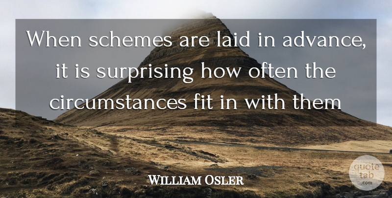 William Osler Quote About Fit, Laid, Schemes, Surprising: When Schemes Are Laid In...