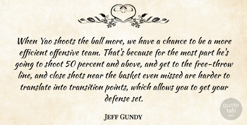 Jeff Gundy Quote About Ball, Basket, Chance, Close, Defense: When Yao Shoots The Ball...