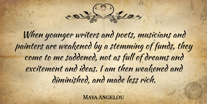 Maya Angelou Quote About Dream, Ideas, Musician: When Younger Writers And Poets...