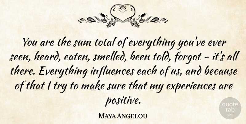 Maya Angelou Quote About Inspirational, Positive, Inspiring: You Are The Sum Total...