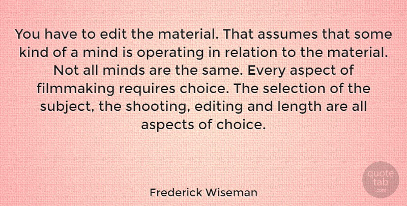 Frederick Wiseman Quote About Editing, Choices, Mind: You Have To Edit The...