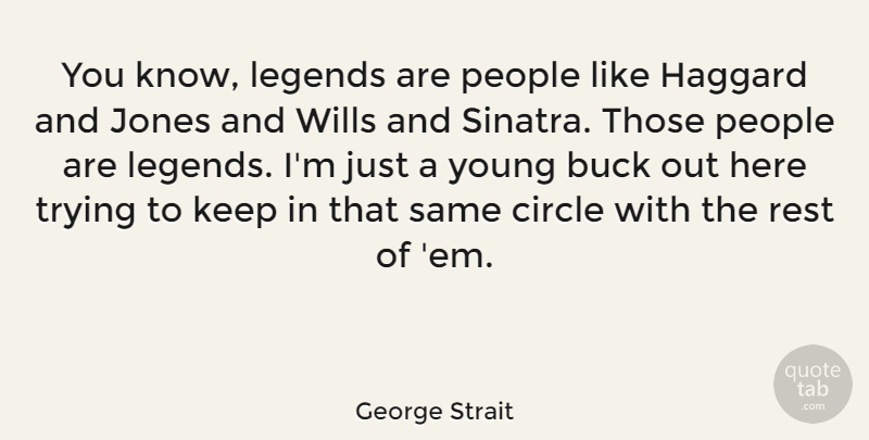 George Strait Quote About Circles, People, Trying: You Know Legends Are People...