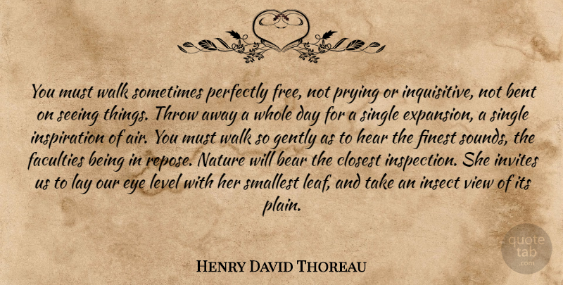 Henry David Thoreau Quote About Inspiration, Eye, Air: You Must Walk Sometimes Perfectly...