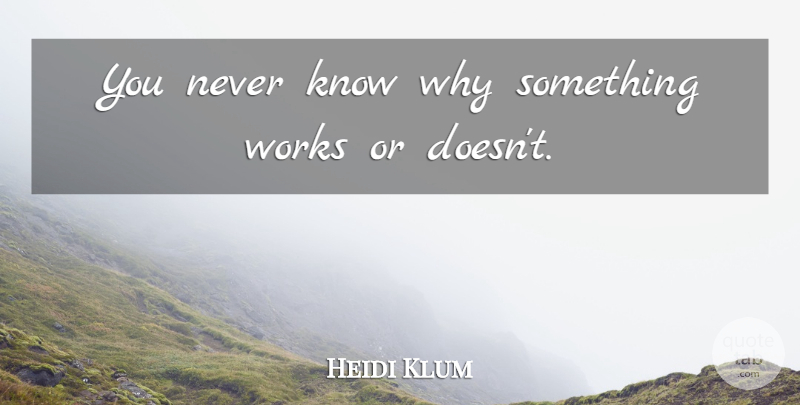 Heidi Klum Quote About Knows: You Never Know Why Something...
