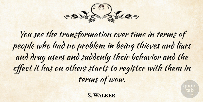 S. Walker: You see the transformation over time in terms of ...