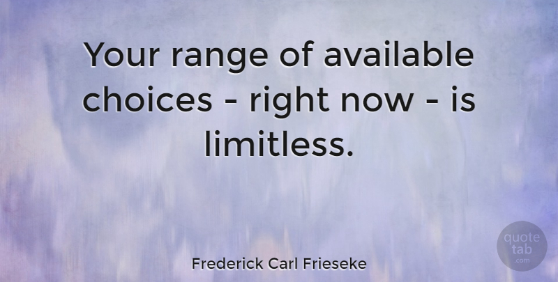 Frederick Carl Frieseke Quote About Choices, Limitless Possibilities, Range: Your Range Of Available Choices...