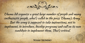 Great Quotes, Noam Chomsky Quote About Call, Develop, Great, Implement, Large: Obama Did Organize A Great...