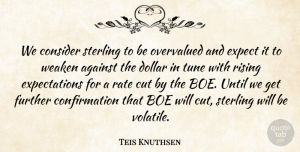 Teis Knuthsen Quote About Against, Consider, Cut, Dollar, Expect: We Consider Sterling To Be...