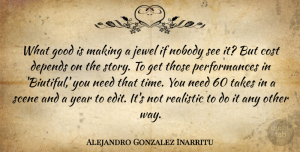 Depends Quotes, Alejandro Gonzalez Inarritu Quote About Cost, Depends, Good, Jewel, Nobody: What Good Is Making A...