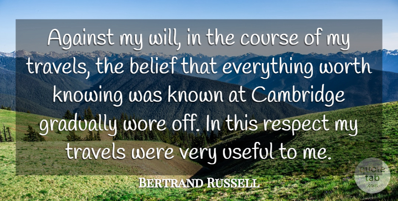 Bertrand Russell Quote About Travel, Adventure, Knowing: Against My Will In The...