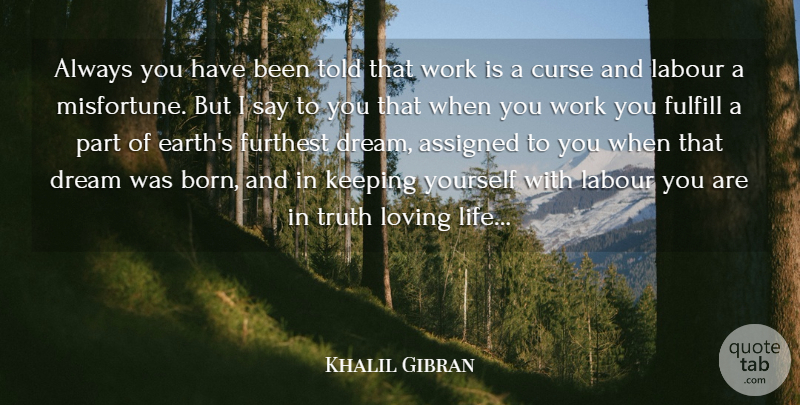 Khalil Gibran Quote About Assigned, Curse, Dream, Fulfill, Furthest: Always You Have Been Told...