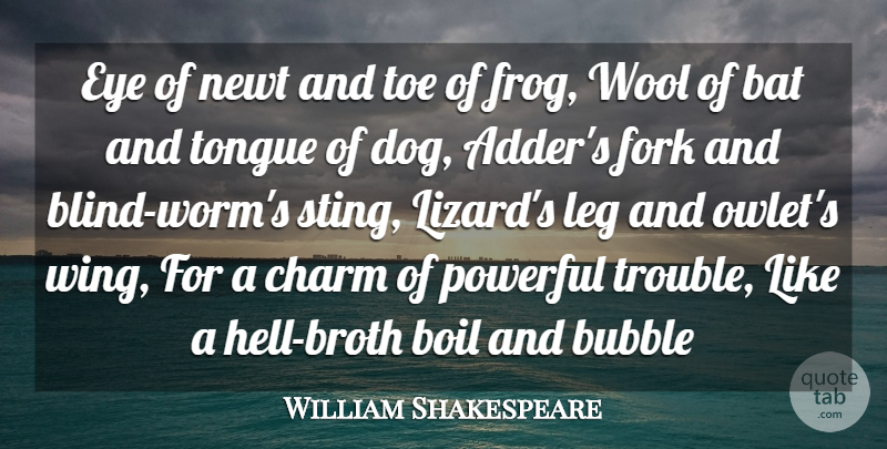 William Shakespeare Quote About Bat, Boil, Bubble, Charm, Eye: Eye Of Newt And Toe...