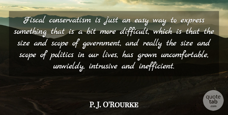 P. J. O'Rourke Quote About Government, Way, Size: Fiscal Conservatism Is Just An...