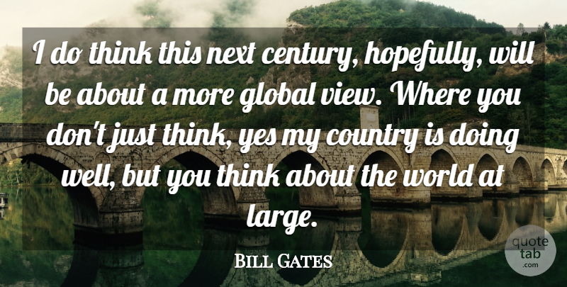 Bill Gates Quote About Success, Country, Thinking: I Do Think This Next...