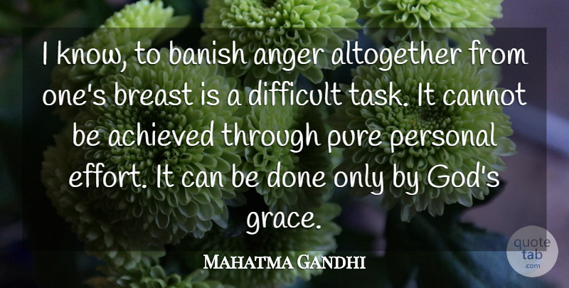 Mahatma Gandhi Quote About God, Anger, Effort: I Know To Banish Anger...