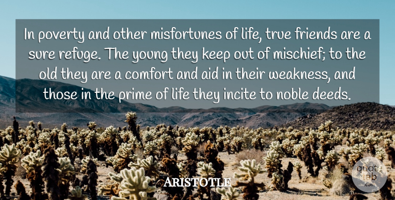 Aristotle Quote About Life, Friendship, True Friend: In Poverty And Other Misfortunes...