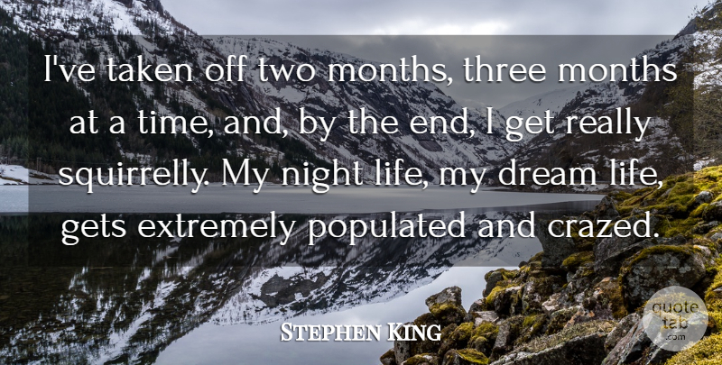 Stephen King Quote About Dream, Taken, Night: Ive Taken Off Two Months...