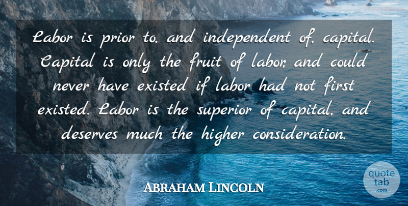Abraham Lincoln Quote About Work, Independent, Labor Day: Labor Is Prior To And...
