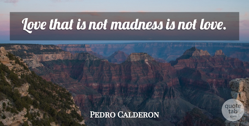 Pedro Calderon Quote About Love, Madness: Love That Is Not Madness...