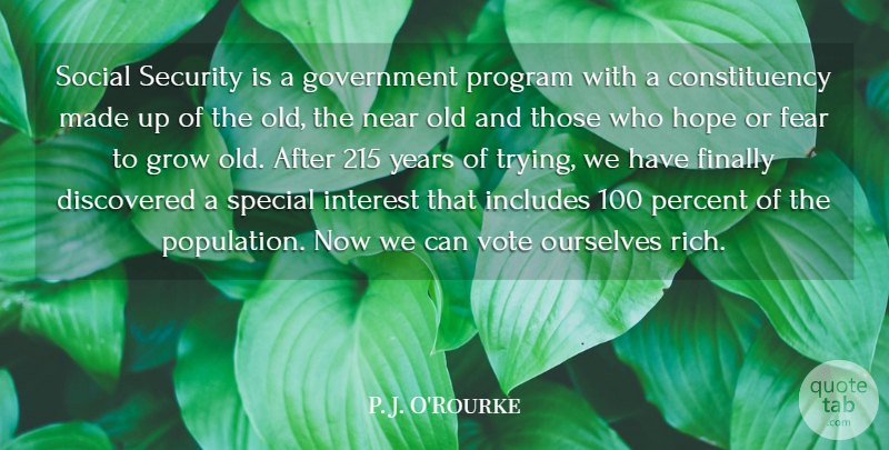 P. J. O'Rourke Quote About Government, Years, Trying: Social Security Is A Government...