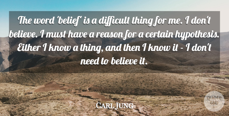Carl Jung: The word 'belief' is a difficult thing for me. I don't... |  QuoteTab