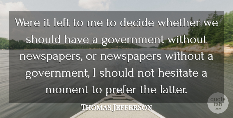 Thomas Jefferson Quote About Government, Should Have, Freedom Of Speech: Were It Left To Me...