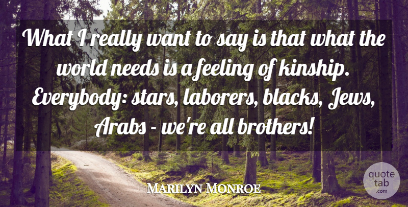 Marilyn Monroe Quote About Arabs, Feeling, Needs: What I Really Want To...