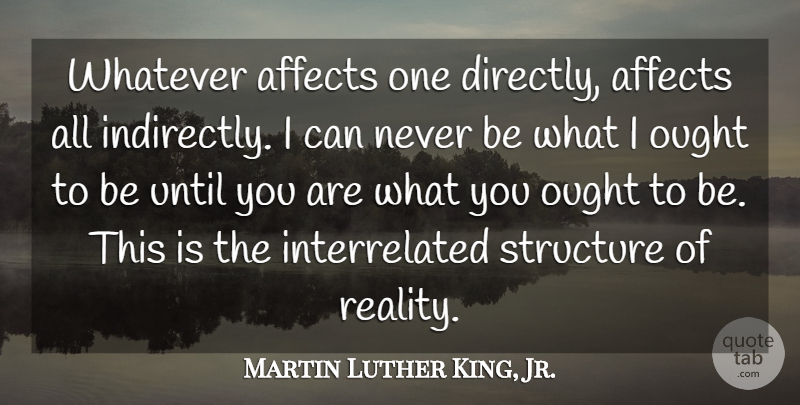 Martin Luther King, Jr. Quote About Powerful, Reality, Web Of Life: Whatever Affects One Directly Affects...