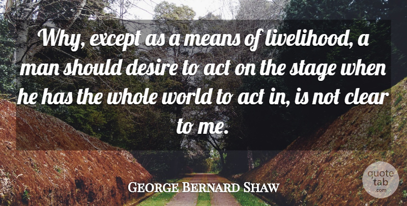 George Bernard Shaw Quote About Funny, Mean, Men: Why Except As A Means...