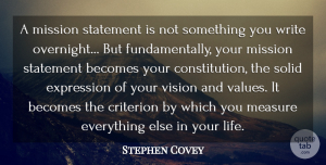 Stephen Covey Quote About Life, Change, Writing: A Mission Statement Is Not...