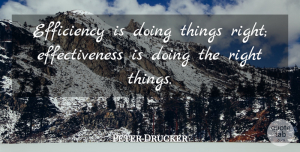 Peter Drucker Quote About American Businessman, Efficiency: Efficiency Is Doing Things Right...