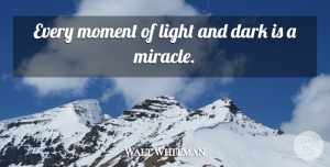 Walt Whitman Quote About Inspirational, Life, Dark: Every Moment Of Light And...