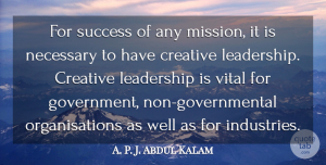 Success Quotes, A. P. J. Abdul Kalam Quote About Creative, Leadership, Necessary, Success, Vital: For Success Of Any Mission...