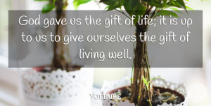 Voltaire Quote About Life, Happy Birthday, Funny Birthday: God Gave Us The Gift...