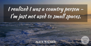 Space Quotes, Alice Walker Quote About Country, Space, Used: I Realized I Was A...
